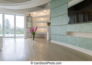 Drawing room in pastel colors - Vase with flowers in drawing...