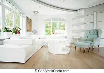 Luxury living room in pastel colors - Luxury living room...