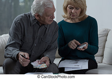 Looking at calculator - Aged couple looking at calculator
