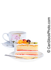 Piece of dilicious cake,Isolated on white background - A...
