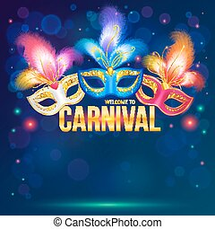 Bright carnival masks on dark blue background, vector flyer...