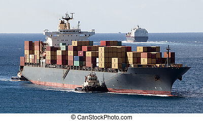 Container Ships - Port of Freeport Grand Bahama Island with...