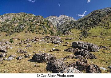 Kyrgyzstan - Scenic landscape in mountain range Tien-Shan in...