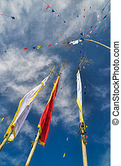 Buddhist prayer flags in Nepal - Colorful buddhist prayer...