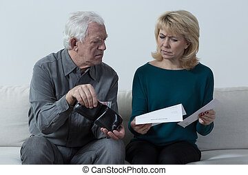 Checking wallet - Worried aged marriage checking wallet