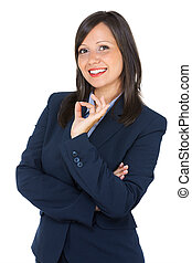 Businesswoman showing OK sign, suitable to represent a...