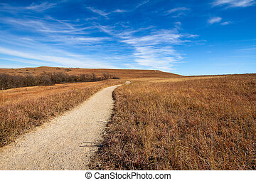 Pathway into the Prairie - Konza Prairie is an 8,600-acre...