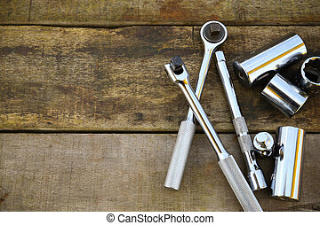 Hand tools set on wooden background