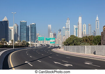 City highway in Dubai, United Arab Emirates