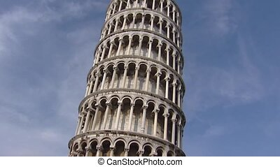 Leaning tower of Pisa tilt up + hold - PISA, TUSCANY, ITALY...
