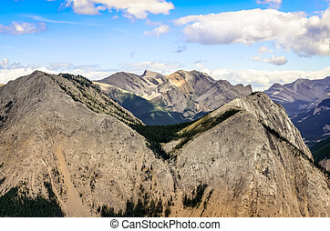 Scenic view of Rocky mountains range in Alberta, Canada