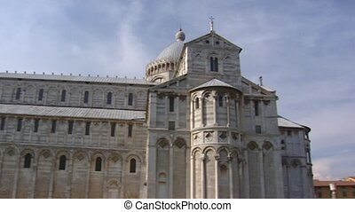 Cathedral pan Leaning Tower of Pisa at Square Piazza dei...