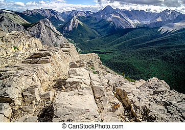 Mountains range view in Jasper NP with chipmunk in...