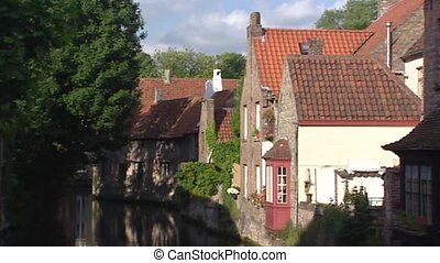 BRUGES, BELGIUM - historic city center, canal + pan mansion...