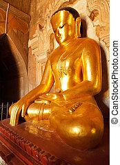 Statue of Bhudda, Bagan, Myanmar - Close up of statue of...