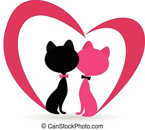 Cat fallen in love symbol logo - Cat fallen in love with...
