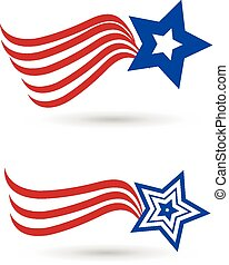 Set of American star flag set logo