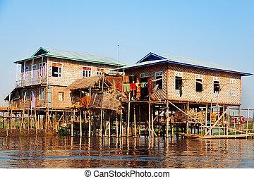Floating village houses in Inle Lake, Myanmar
