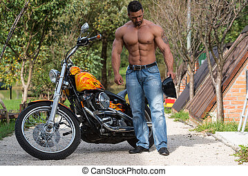 Attractive Bodybuilder And Motorcycle - Biker Man...