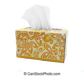 Isolated Yellow and Orange Box of Tissues - Yellow and...