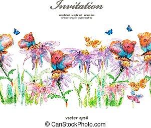 cute floral border. watercolor