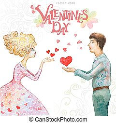 romantic watercolor greeting card with a cute couple