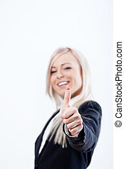thumbs up succesful woman and smile with a blue jacket