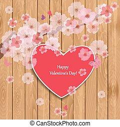 invitation card heart with blossom sakura