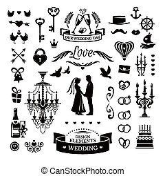 wedding icons and elements - Vector collection of wedding...