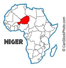 Niger outline inset into a map of Africa over a white...