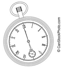 Midnight - A pocket watch showing midnight over a white...