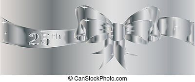 25th Silver Ribbon - A large silk ribbon tied into a bow...