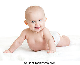 Cute smiling baby lying on white towel in nappy - Cute...
