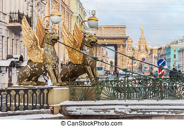 Griffon sculpture of Bank bridge in St.Peterburg