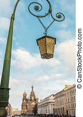 old lantern on the bridge in St. Petersburg