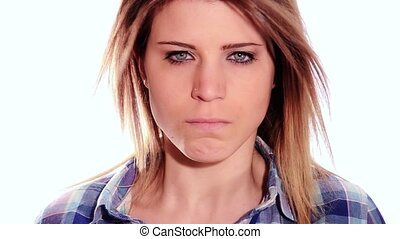 beautiful angry girl - Portrait of an angry nice girl...