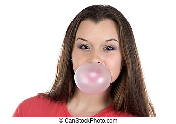 Smiling teenage girl and bubble gum on white background