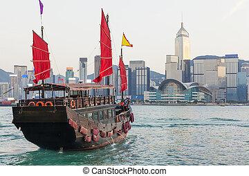 Hong Kong skylines and junk boat