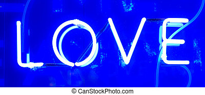 Neon Love Sign - Blue Illuminated Neon Love Sign