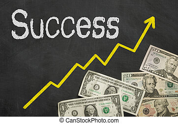 Text on blackboard with money - Success