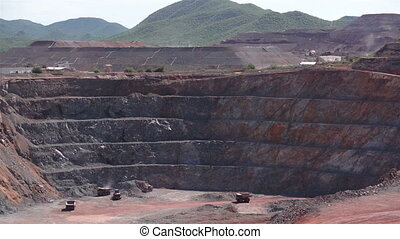 Industrial Mining Pit Heap Leach - Long shot of an...