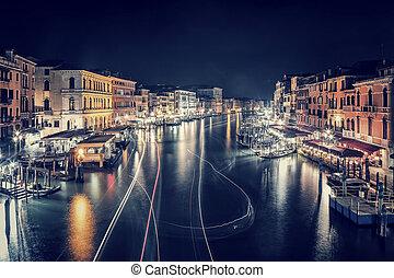 Venice city at night, beautiful majestic cityscape, many...
