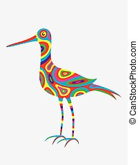 Heron egret abstract colorfully, art vector illustration