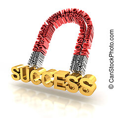 Magnet formed by business words attracting success - Magnet...