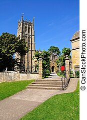 Chipping Campden church tower - St James church, Chipping...