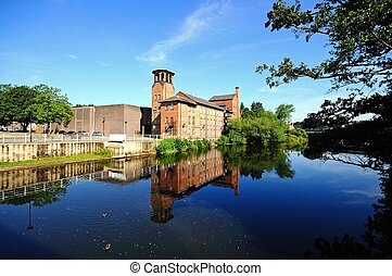 The Silk Mill, Derby. - The Silk Mill alongside the River...