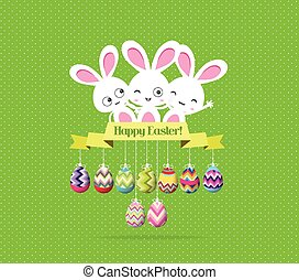 easter eggs and bunny funny label