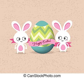 retro card with striped easter eggs
