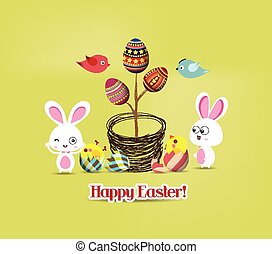 easter eggs tree bunny and birds