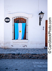 Argentinian Flag Hanging On Patriotic House